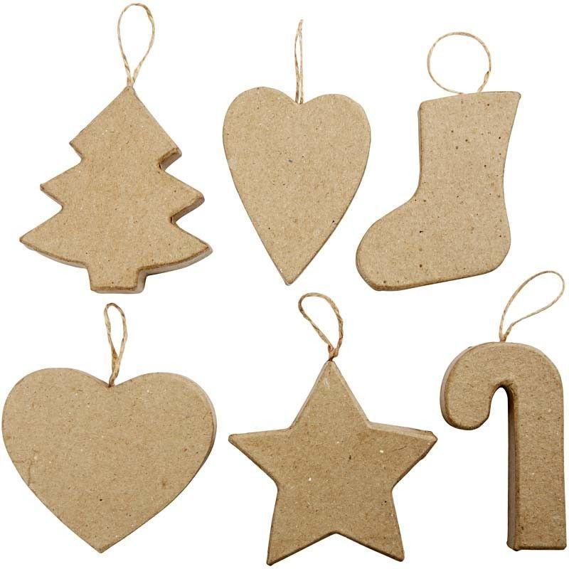 6 Kerst Ornamenten Papier-Mache - 7/8 cm