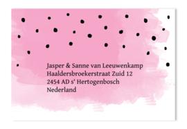 Adressticker waterverf roze