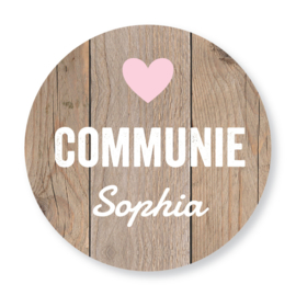 Sluitzegel communie houtprint hart roze