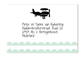 Adressticker vliegtuig