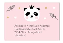 Adressticker panda roze