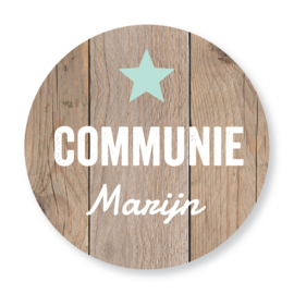 Sluitzegel communie houtprint ster mintgroen