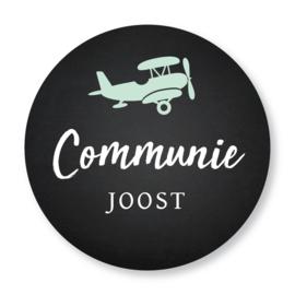Sluitzegel communie zwart vliegtuig mintgroen