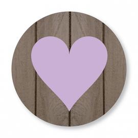 Sluitzegel hout hartje lila