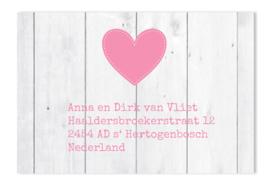 Adressticker roze hart hout
