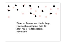 Adressticker dots roze/zwart