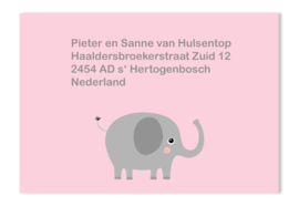 Adressticker olifant roze