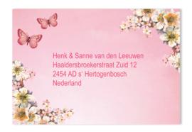 Adressticker bloemen roze