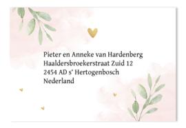 Adressticker botanisch roze