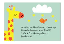 Adressticker Fedde giraf