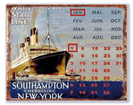 Metalen Kalender White Star Line
