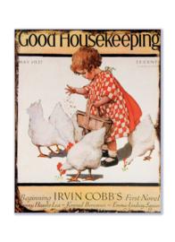 Good Housekeeping May 1927 - Meisje voert kippetjes