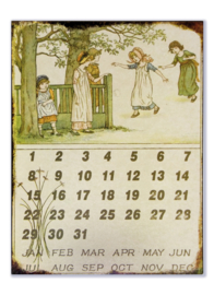 Metalen kalender - Vijf meisjes