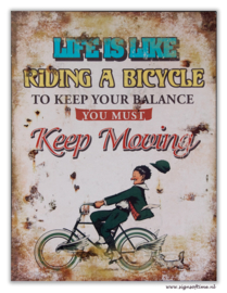 Life is like riding a bicycle (cartoon)