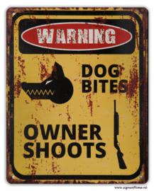Warning - Dog bites Owner shoots