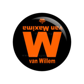 Koningsdag button  W van Willem 38 mm