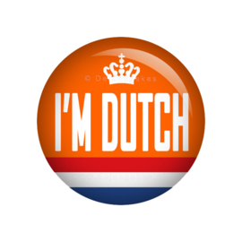 Koningsdag button I'm Dutch 38 mm