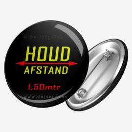 Houd afstand button zwart 45 mm