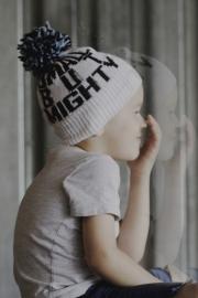 PRJONA PLYM  I  SMALL BUT MIGHTY  knit hat with black/blue pom