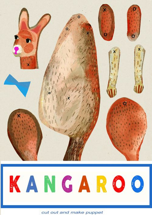 KANGAROO  cut out + make puppet