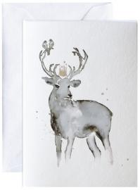 Hjort med fugler, kunstkaart Elise Stalder