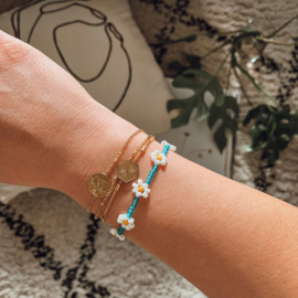 Armband Bloem Blauw