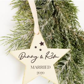 Kerstster Hanger Hout - Married