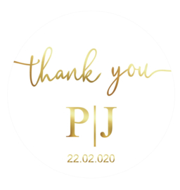 Foil Sticker Glossy White - Thank You Initials Date