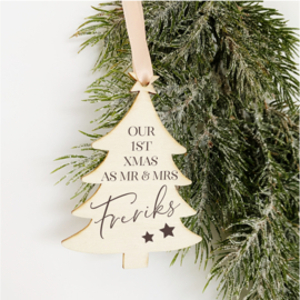Kerstboom Hanger Hout - Our 1st Xmas