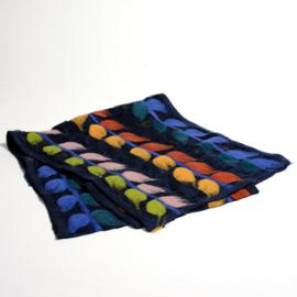Sjaal gevilt op Chiffon nr. 79 Donkerblauw met bladranken