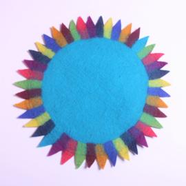 Tafelkleedje zonnebloem blauw