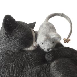 Kattenspeeltje lichtgrijze muis met belletjes