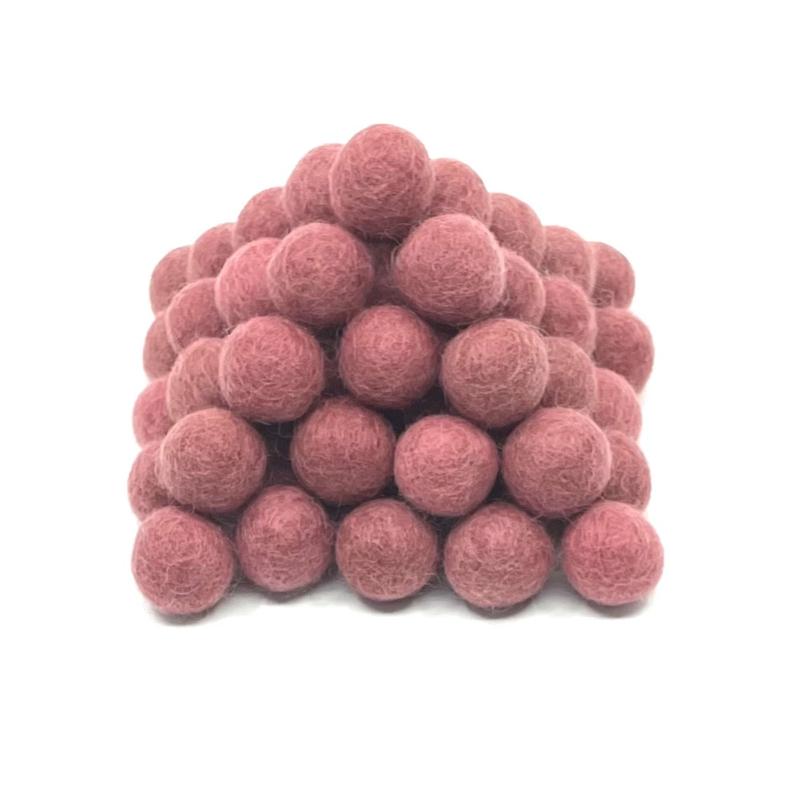 Viltballen  2,2 cm Oudroze 006 (per 10 stuks)