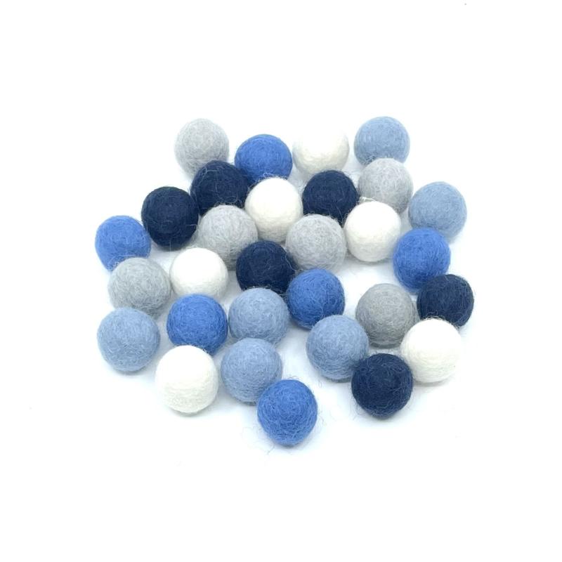 viltballen 2,2 cm mix, 30 stuks