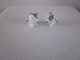 Sleutelhanger hond grijs-wit