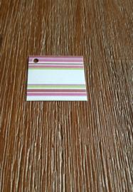 Naamkaartje streep roze