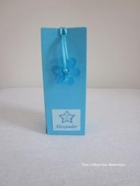 Doopsuikerdoosje blauw met vlinder of bloem