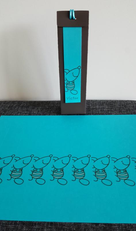 Naamkaartje muis turquoise (10 stuks)