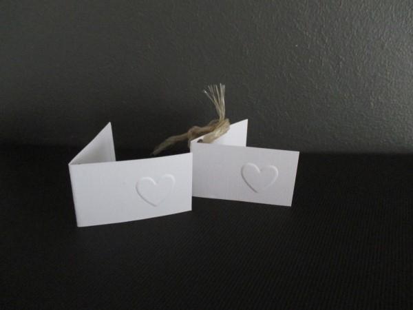 Naamkaartje wit met hartje