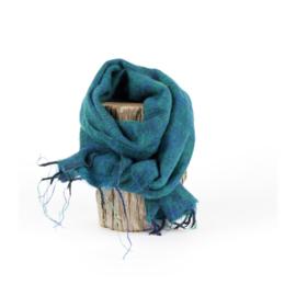 Sjaal met Verhaal - klein -  113 - aquagroen