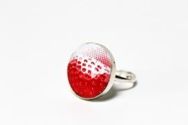 Crazyclage - ring aardbei - zilveren ring met blik