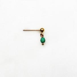 By Nouck - Green - oorsteker goldplated - per stuk