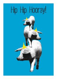 Mrs. Wizzle - hip hip hooray blue - postkaart 100 % gerecycled karton gevouwen