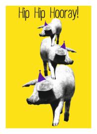 Mrs. Wizzle - hip hip hooray yellow - postkaart 100 % gerecycled karton gevouwen