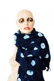 Coöperatie Mali - Bogolan - indigo eco-katoen bolletjes sjaal/doek