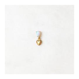 By Nouck - Opal Earpin Mini Heart - oorsteker goldplated - per stuk
