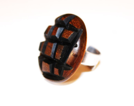 Culture Mix - ring - hout gekerfd