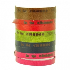 Inspire! - ecoarmbandje met motto be the change - roze
