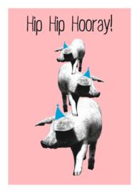 Mrs. Wizzle - hip hip hooray pink - postkaart 100 % gerecycled karton gevouwen