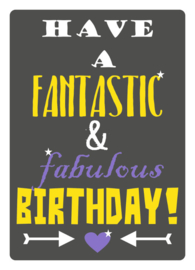 Mrs. Wizzle - have a fantastic & fabulous birthday - postkaart 100 % gerecycled karton gevouwen